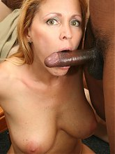 Pretty blonde milf Lisa Lipps working a big black dick with her mouth and humping it on top live