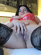 Horny european mama playing with herself