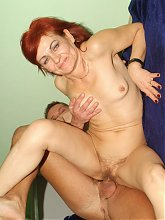 Wild granny Steph gives her stud a sinful cock sucking and later rides his dick with her old cooter