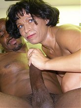 Mature housewife Bambi gives a monster black dick an expert sucking and got her ripe pussy ripped